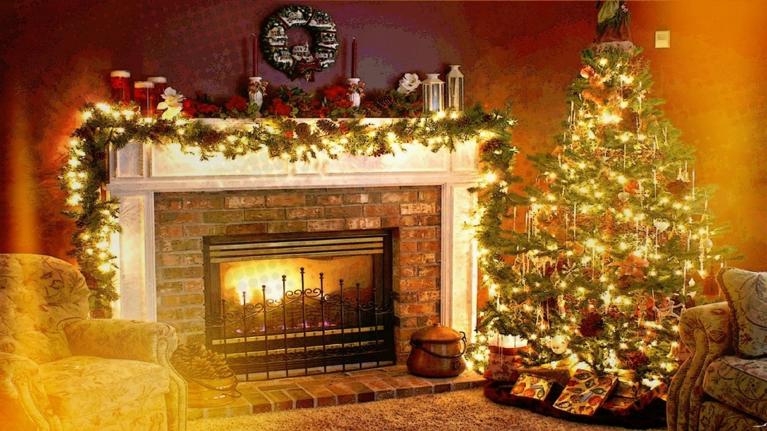 Christmas, Holiday, Fireplace, Interiors, Welcome Home Wallpapers in Christmas Fireplace Desktop Background