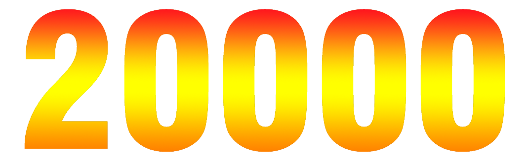 20000_in_numbers_from_red_to_yellow_to_orange