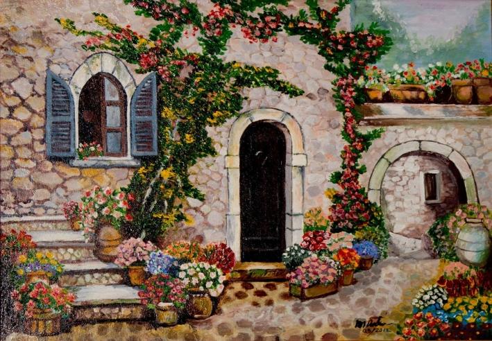 te-astept sa inflorim din nou de Mihaela CD pictura Mircea Rustiuc