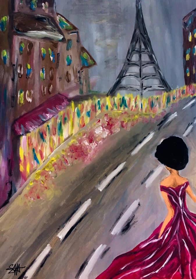 nostalgica in orasul iubirii pictura de mm stan