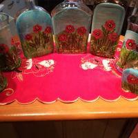 Pictura pe sticla :Campul cu maci
